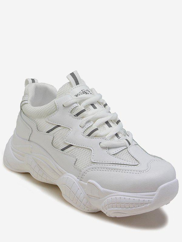Chic Mesh Trim Lace-up Running Sneakers