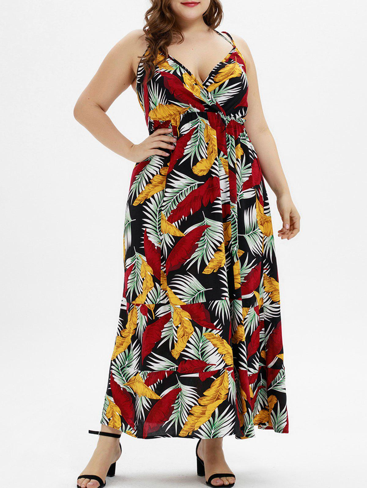 14fca82c54 25% OFF  Plus Size Tropical Print Maxi Surplice Dress