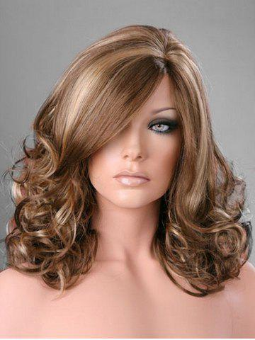 Side Part Curly Long Synthetic Wig