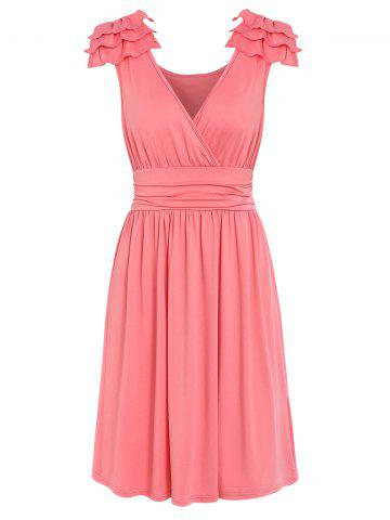 Plunge Solid Pleated Dress