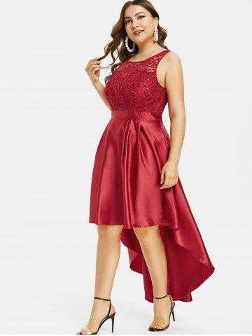 Plus Size Sequined Lace High Low Dress, Cherry red