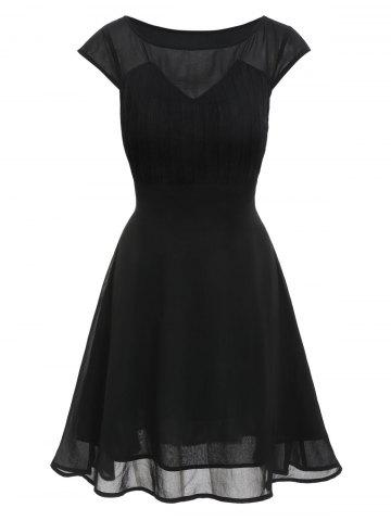 A Line Solid Pleated Dress