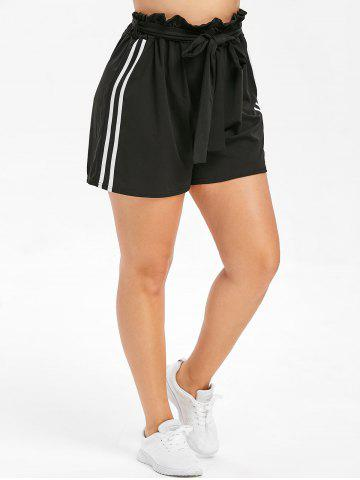 Belted Plus Size Side Striped Insert Shorts