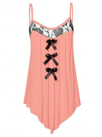 Lace Panel Plus Size Bowknot Embellished Cami Top