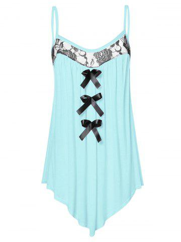 Lace Panel Plus Size Bowknot Embellished Cami Top - CORAL BLUE - 3X