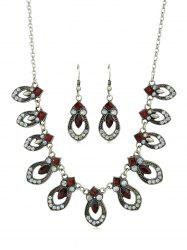 Red Crystal Water Drop Jewelry Set -