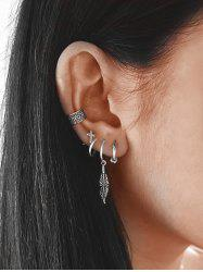 Punk Style Leaf Design Earrings Set -