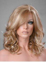 Side Part Curly Long Synthetic Wig -