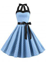 Lace-up Polka Dot Halter Vintage Dress -