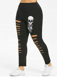 Skull Print Ripped Plus Size Leggings -