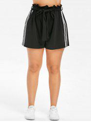 Belted Plus Size Side Striped Insert Shorts -