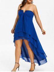 Plus Size Strapless High Low Overlay Dress -