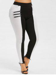 Zippers Two Tone Plus Size Skinny Pants -