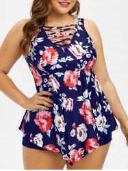 Plus Size Criss Cross Floral Peplum Tankini Set -