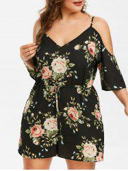 Plus Size Floral Cold Shoulder Romper -