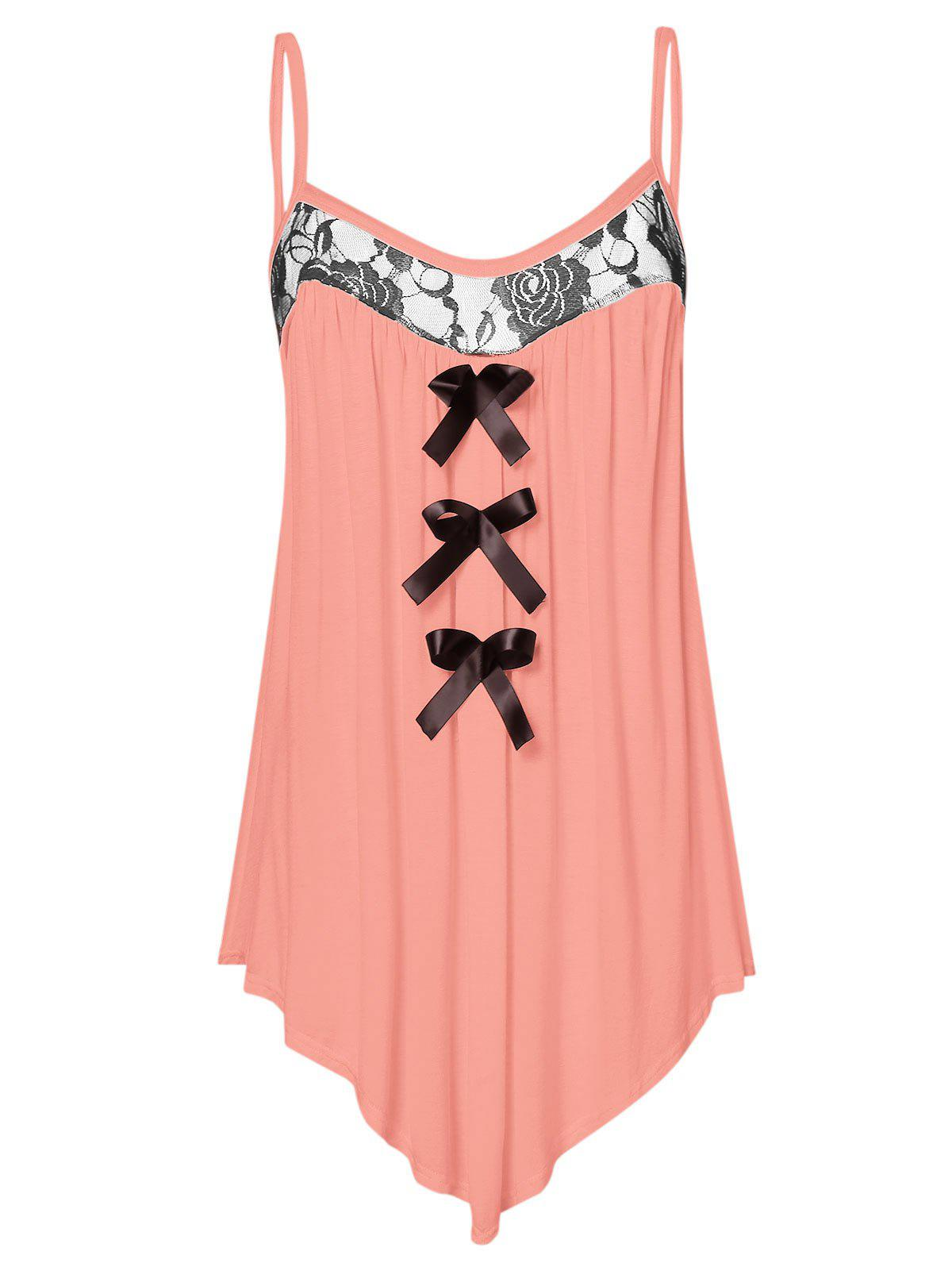 Fancy Lace Panel Plus Size Bowknot Embellished Cami Top