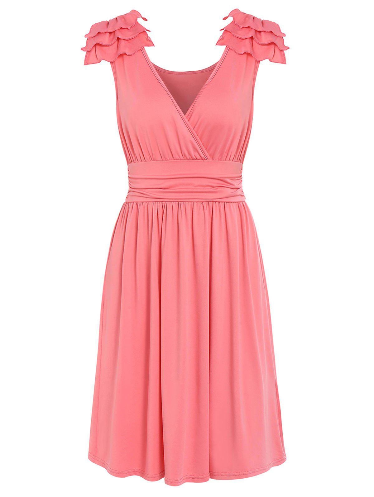 Latest Plunge Solid Pleated Dress