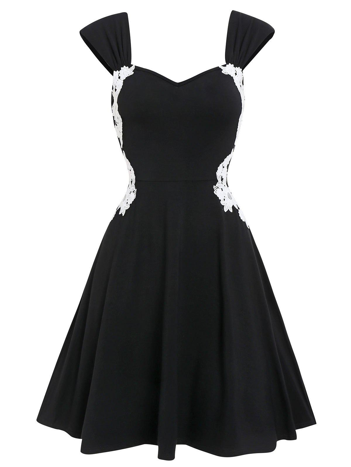 Outfits Lace Insert Contrast Sweetheart Collar Dress