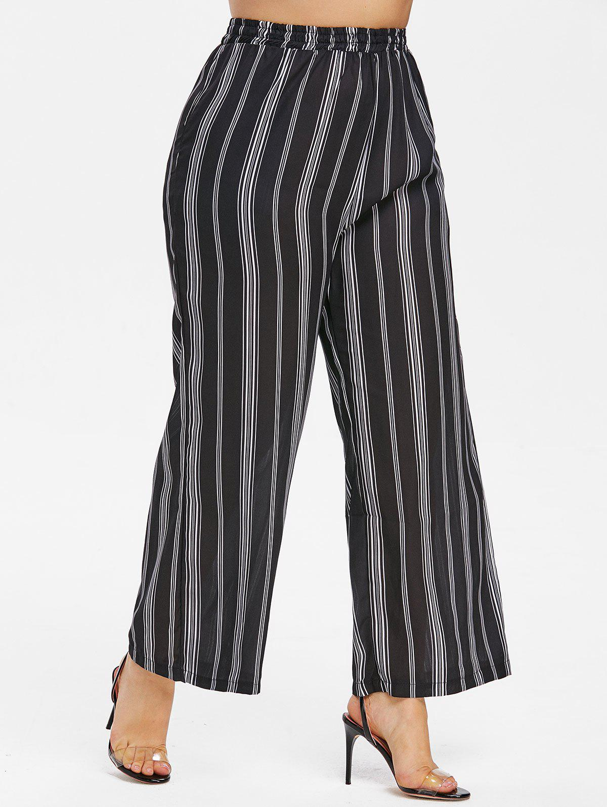 Outfits Plus Size Striped Panel Wide Leg Pants