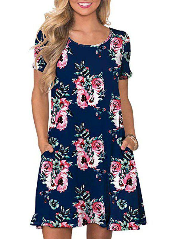 Hot Short Sleeve Printed Tee Dress