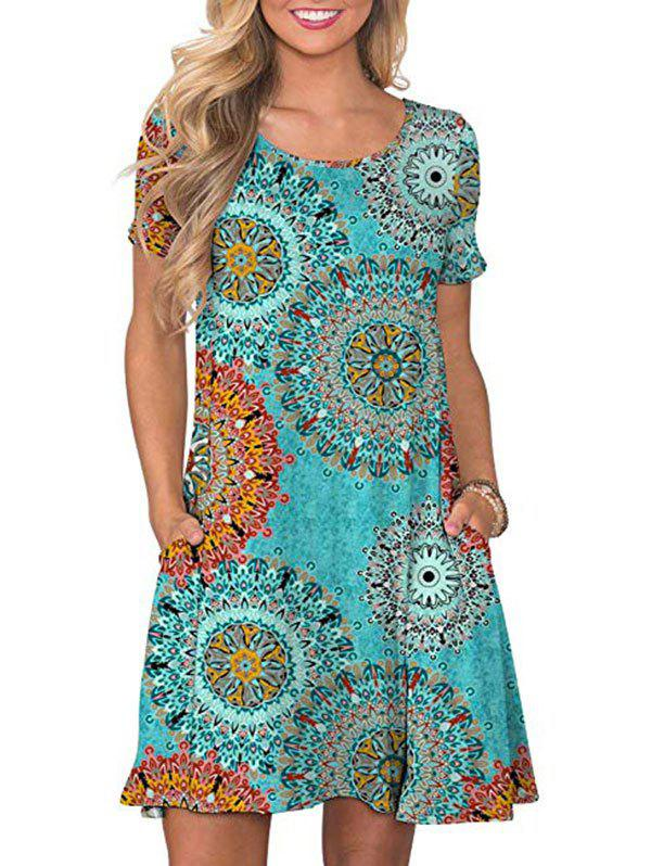 Affordable Short Sleeve Printed Tee Dress