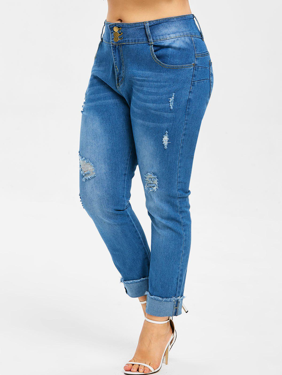 Trendy Button Details Plus Size Ripped Cuffed Jeans
