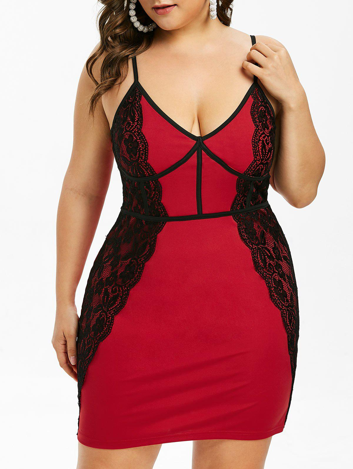Outfit Plus Size Lace Panel Bodycon Mini Dress