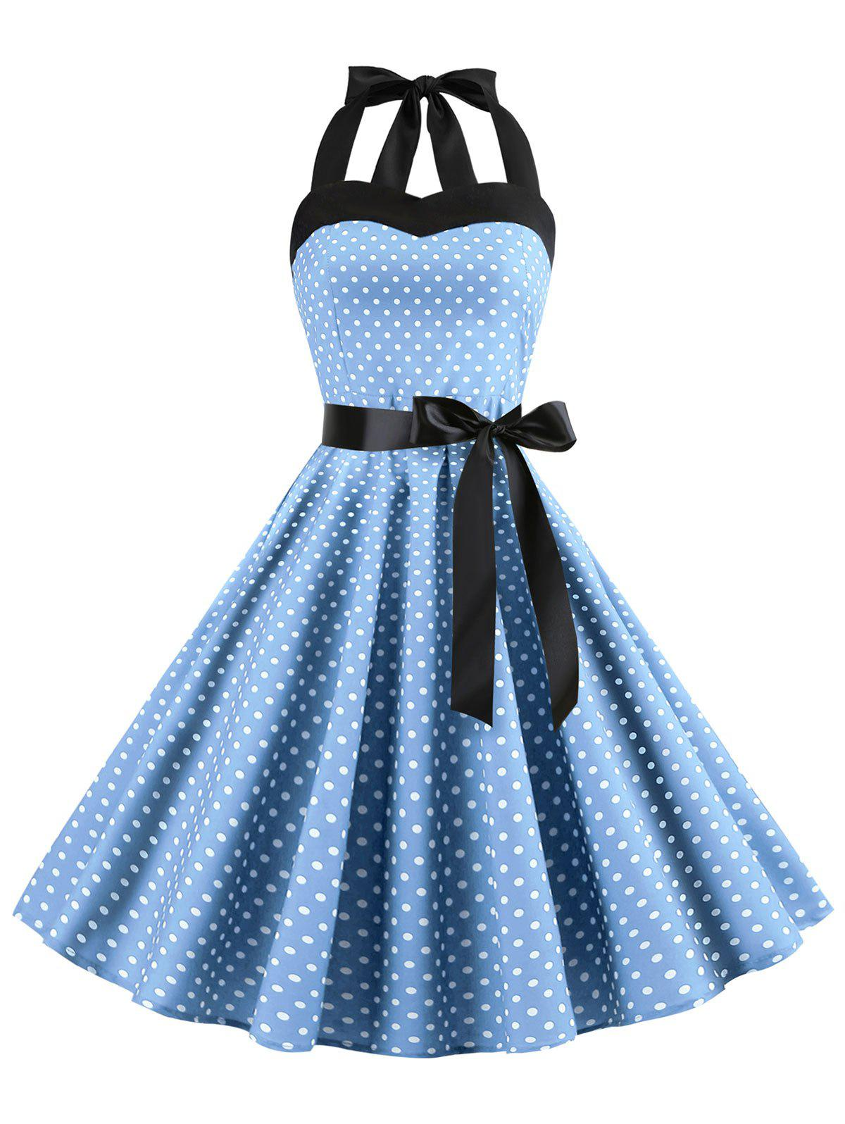 Fashion Lace-up Polka Dot Halter Vintage Dress