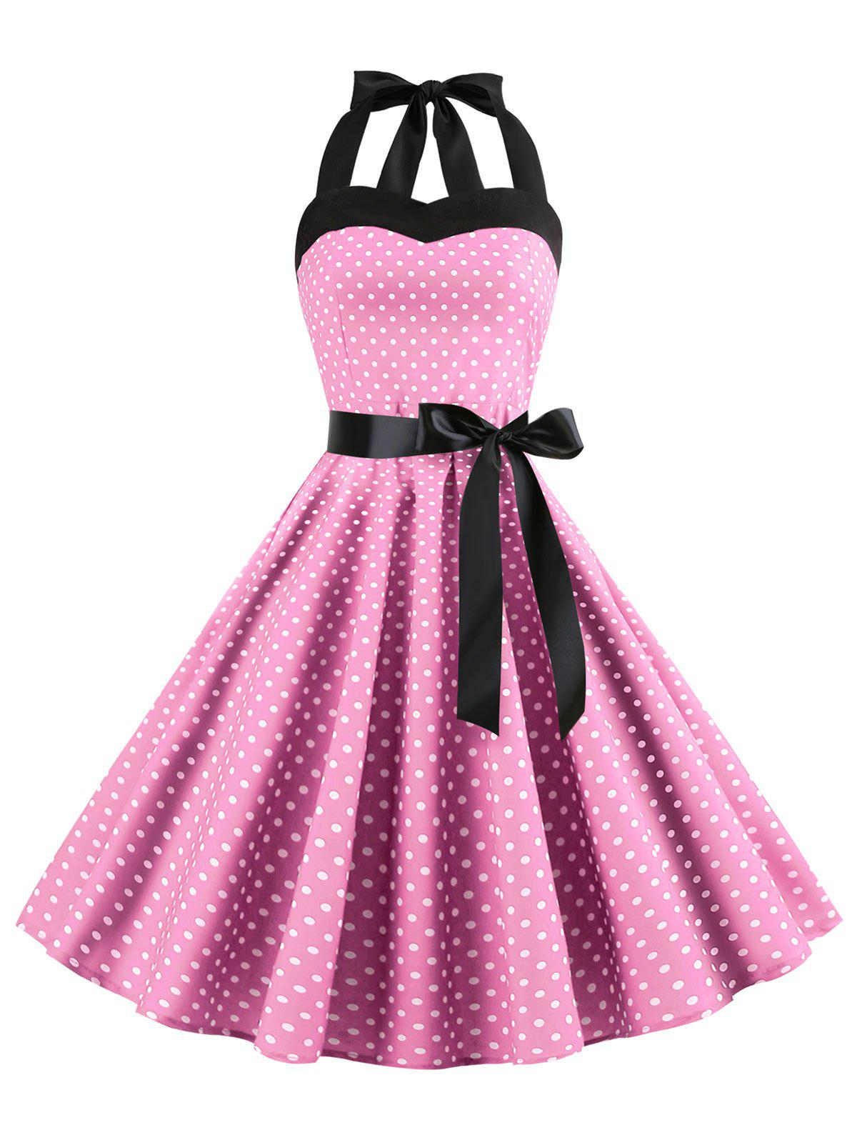 Cheap Lace-up Polka Dot Halter Vintage Dress