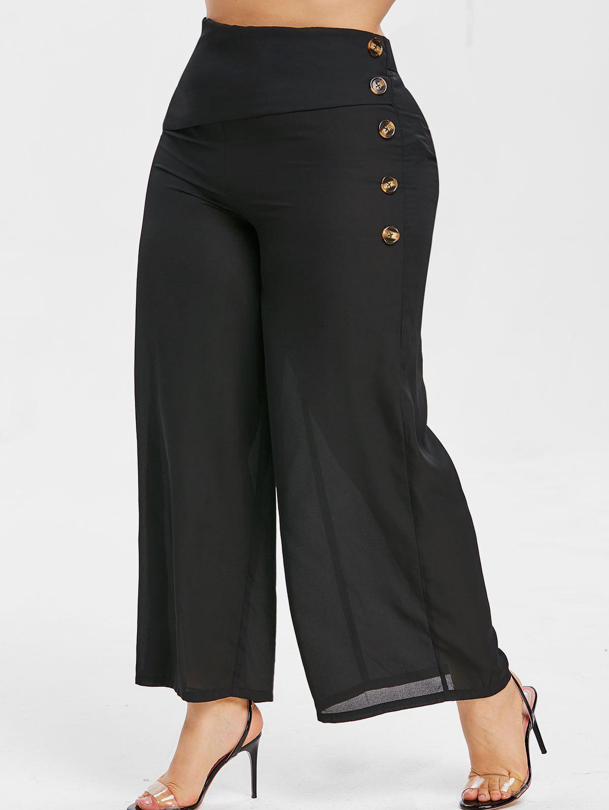 Online Plus Size Button Embellished Palazzo Pants