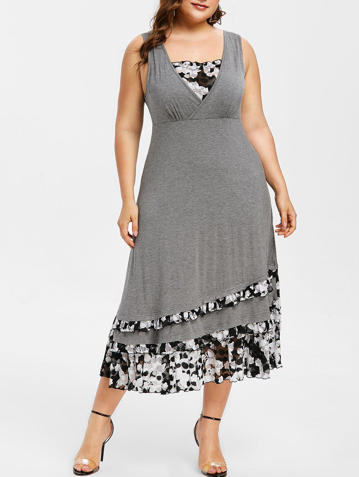 Contrast Lace Layered Plus Size Midi Dress