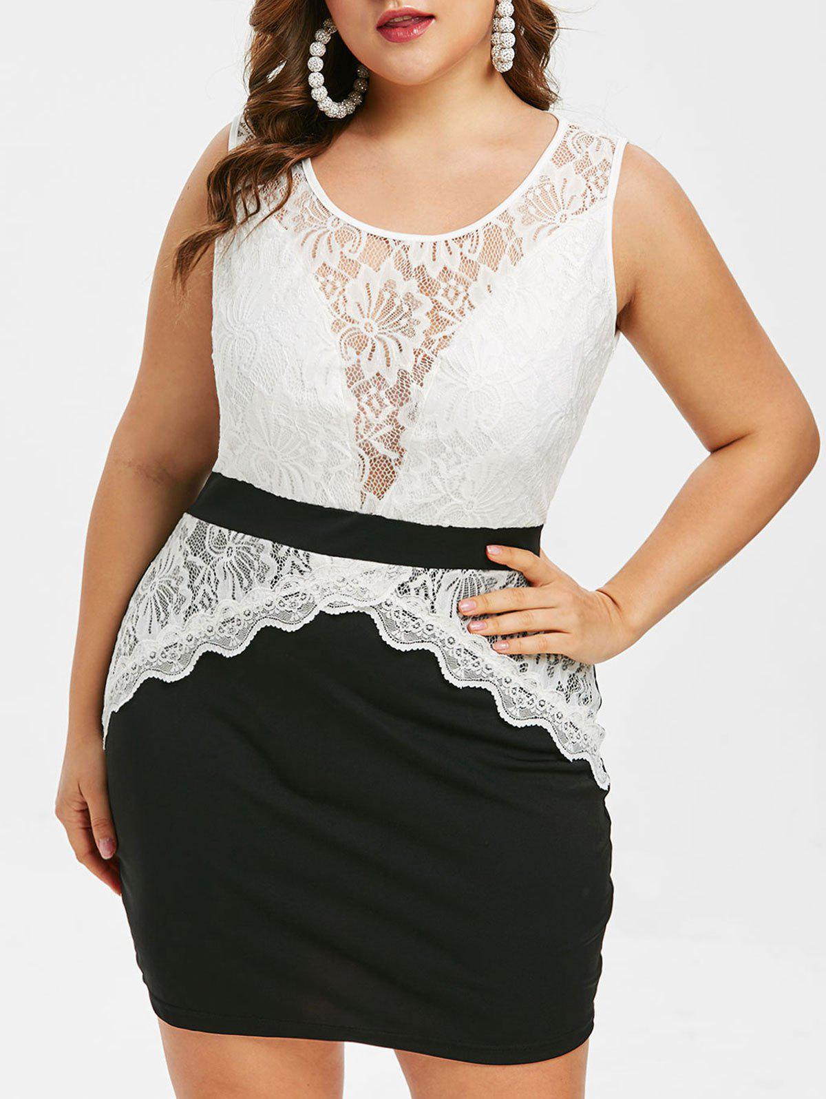 765ffa5468d39 40% OFF] Plus Size Lace Insert Two Tone Tight Dress | Rosegal