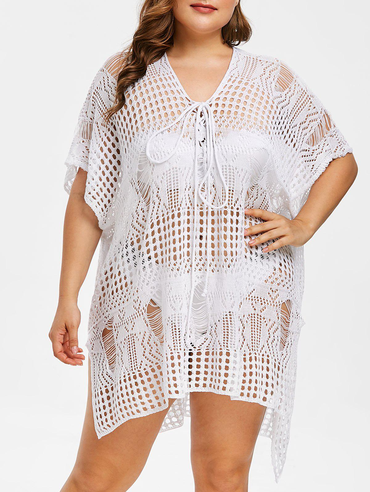 27 Off Plus Size Asymmetrical Crochet Cover Up Dress Rosegal