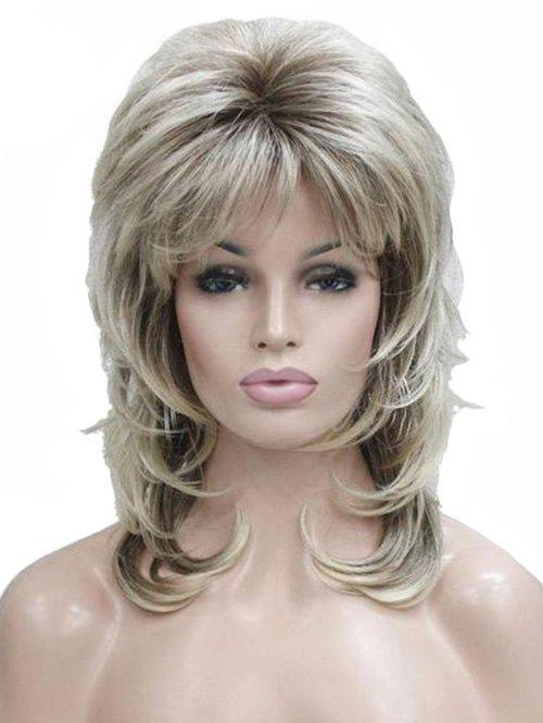 Sale Side Bang Medium Straight Fluffy Synthetic Wig