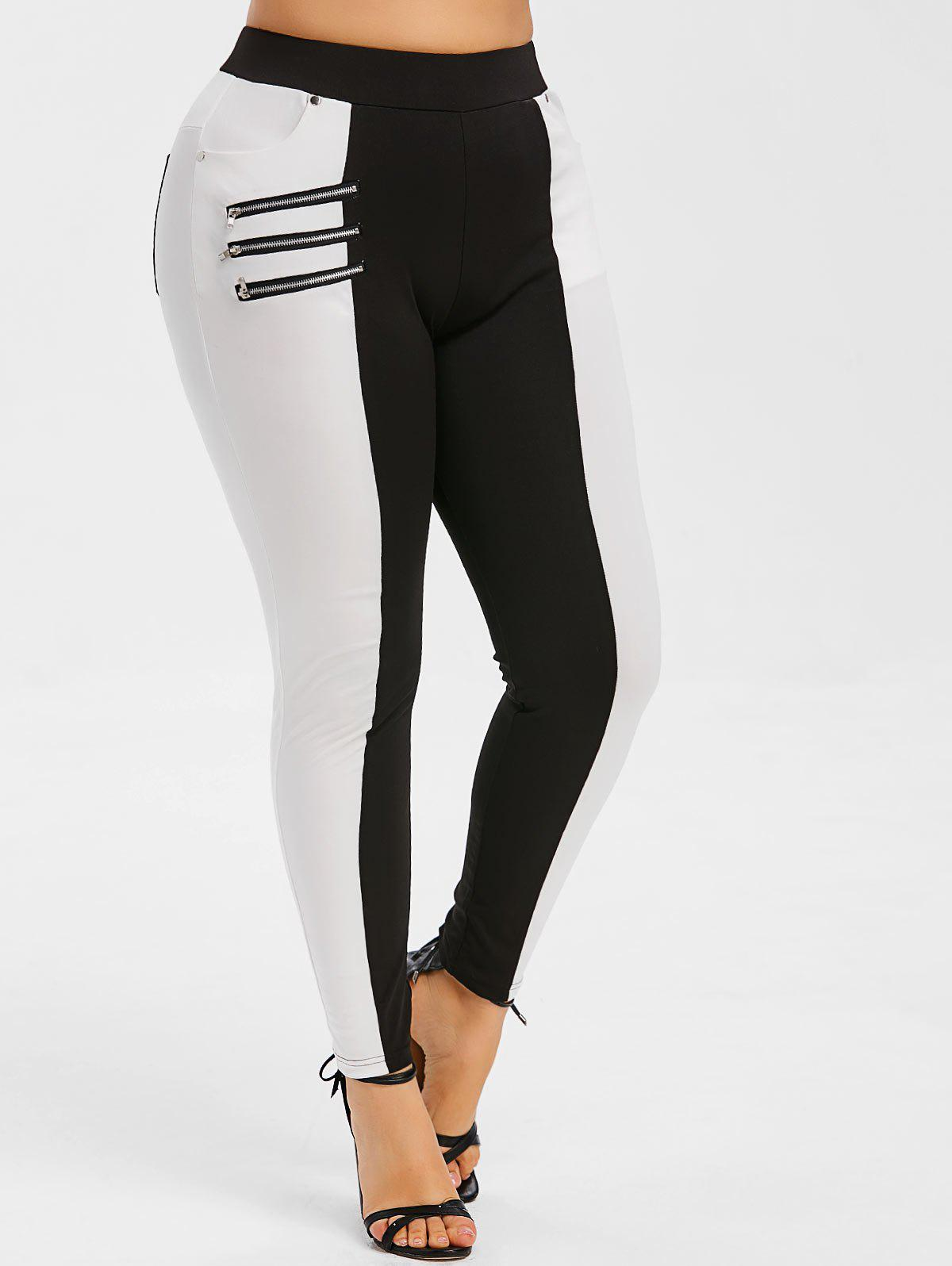 Zippers Two Tone Plus Size Skinny Pants