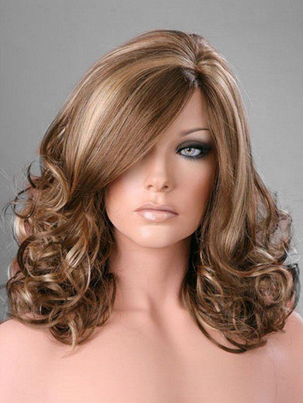 Trendy Side Part Curly Long Synthetic Wig