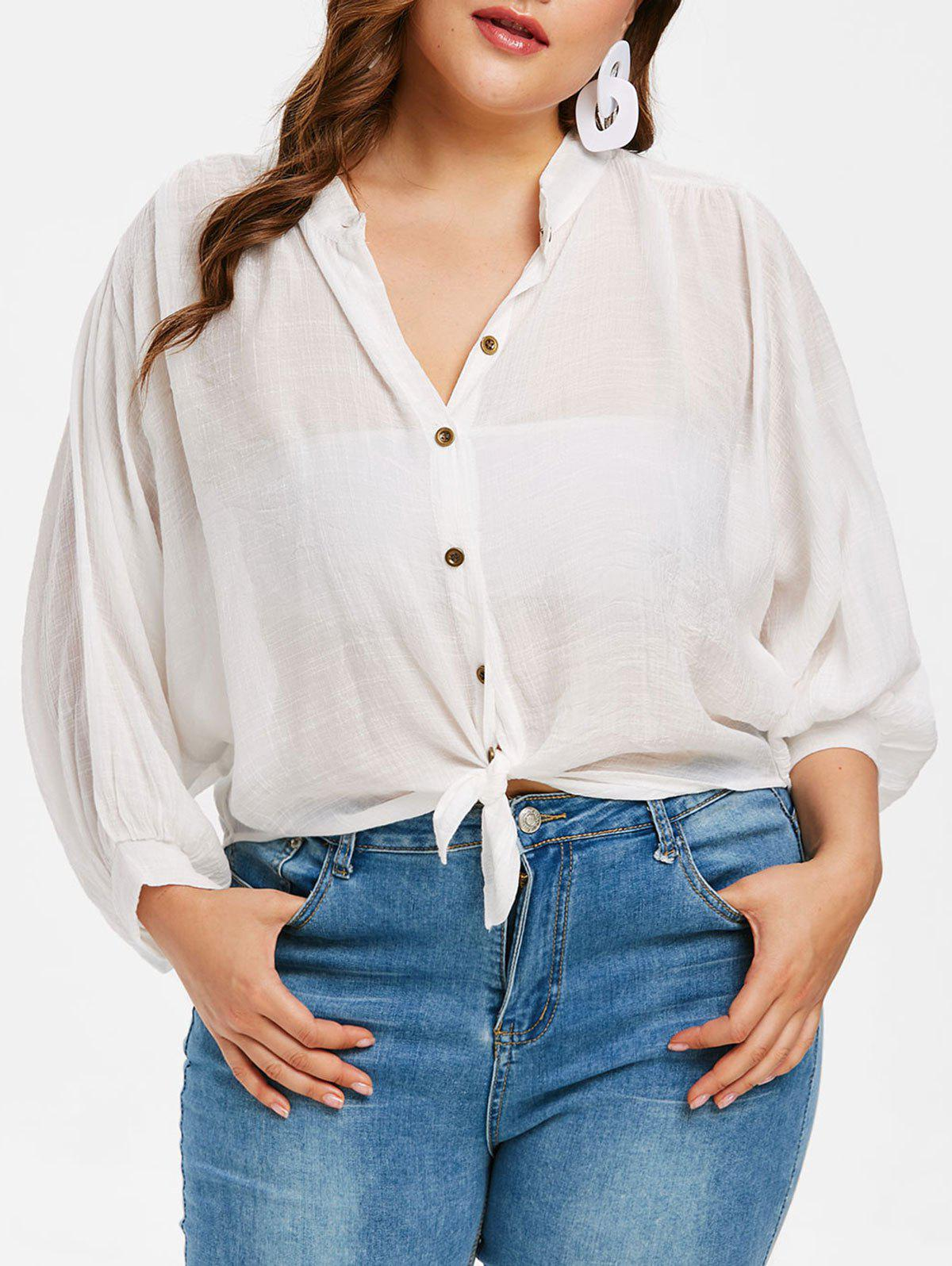 158b0c9a90c Button Up Plus Size Puff Sleeve Shirt - One Size. rosegal