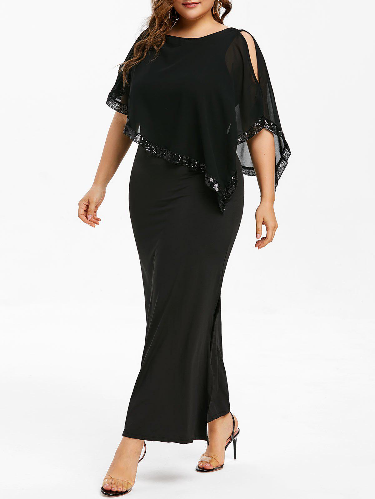 33% OFF] Plus Size Sequin Embellished Overlay Maxi Dress | Rosegal