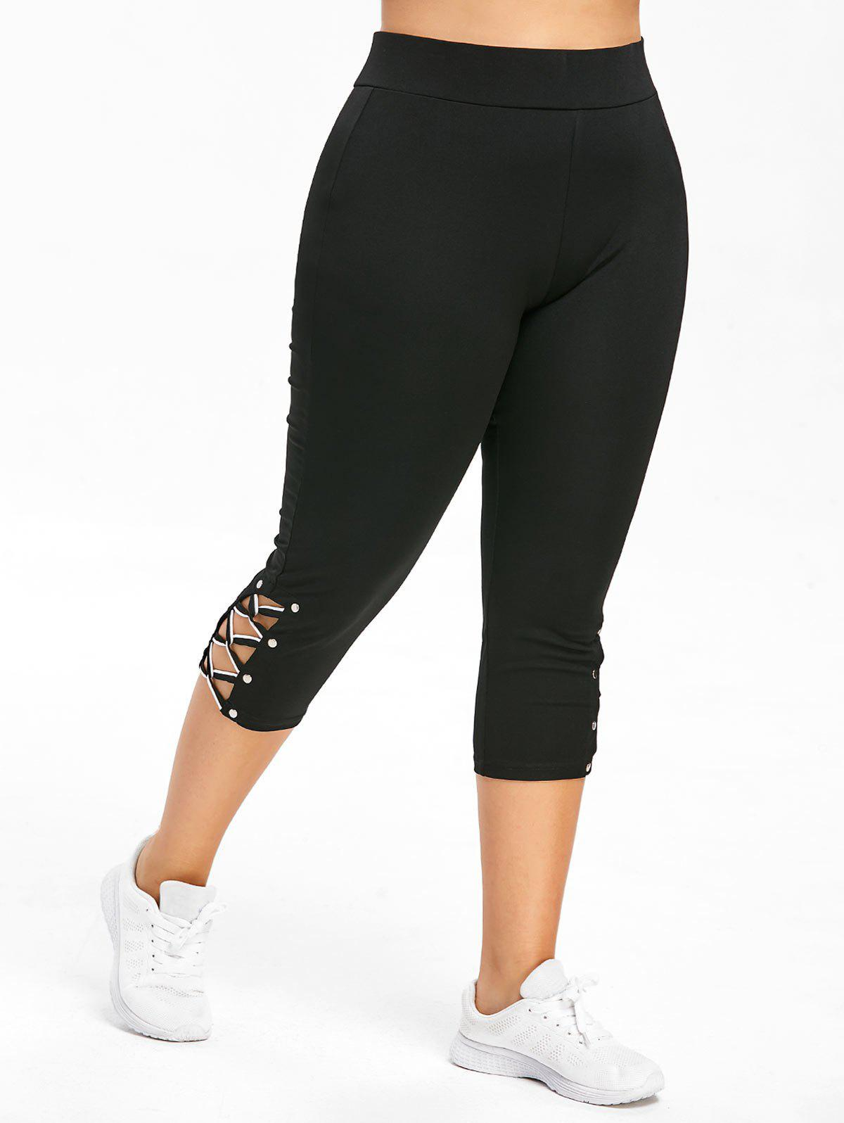 Chic Plus Size Criss Cross Capri Skinny Gym Leggings