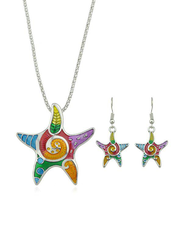 Cheap Starfish Enamel Necklace with Earrings
