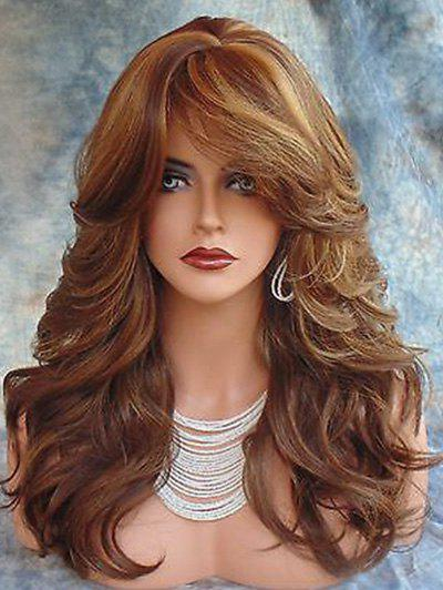 Best Long Side Fringe Colormix Wavy Synthetic Wig