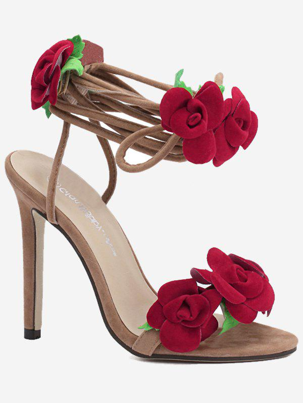 Chic Flower Design Ankle Wrap Heeled Sandals