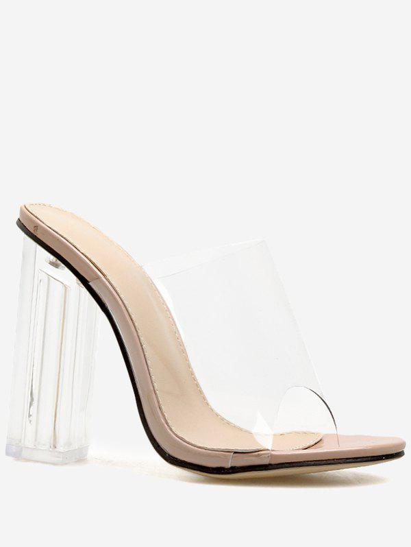 Cheap Clear Chunky Heel Transparent Slides