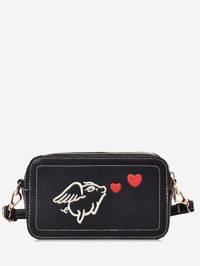 Outfit Piggy Embroidered Crossbody Bag