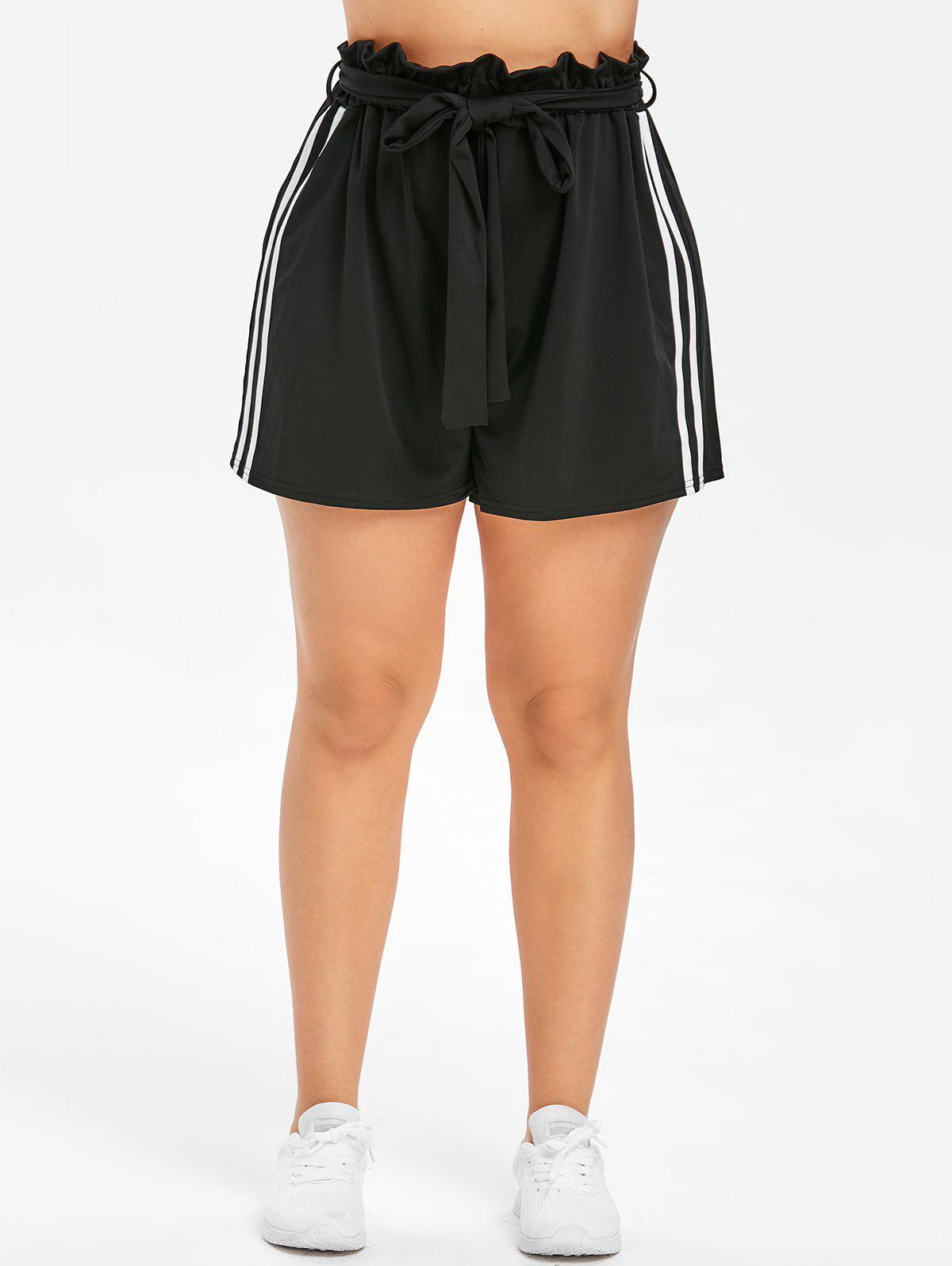 Shops Belted Plus Size Side Striped Insert Shorts