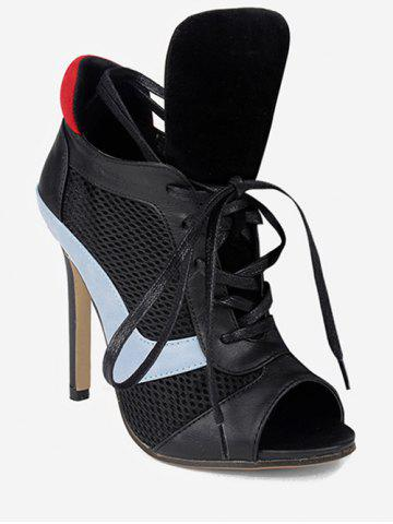 Breathable Peep Toe Heeled Boots