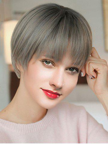 Short See-through Bang Straight Colormix Synthetic Wig
