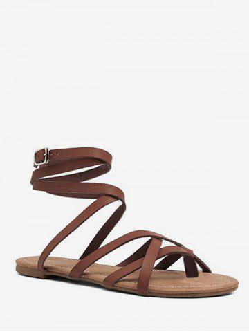 26674212d Toe Loop Lacing Gladiator Flat Sandals