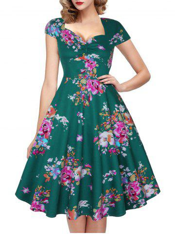Ruched Cap Sleeve Floral Print Dress