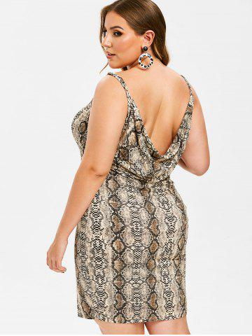 954bc3428d2 Rosegal Plus Size Snakeskin Print Open Back Mini Dress